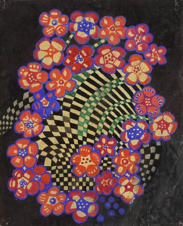 Tobacco flower textile design. Undated.