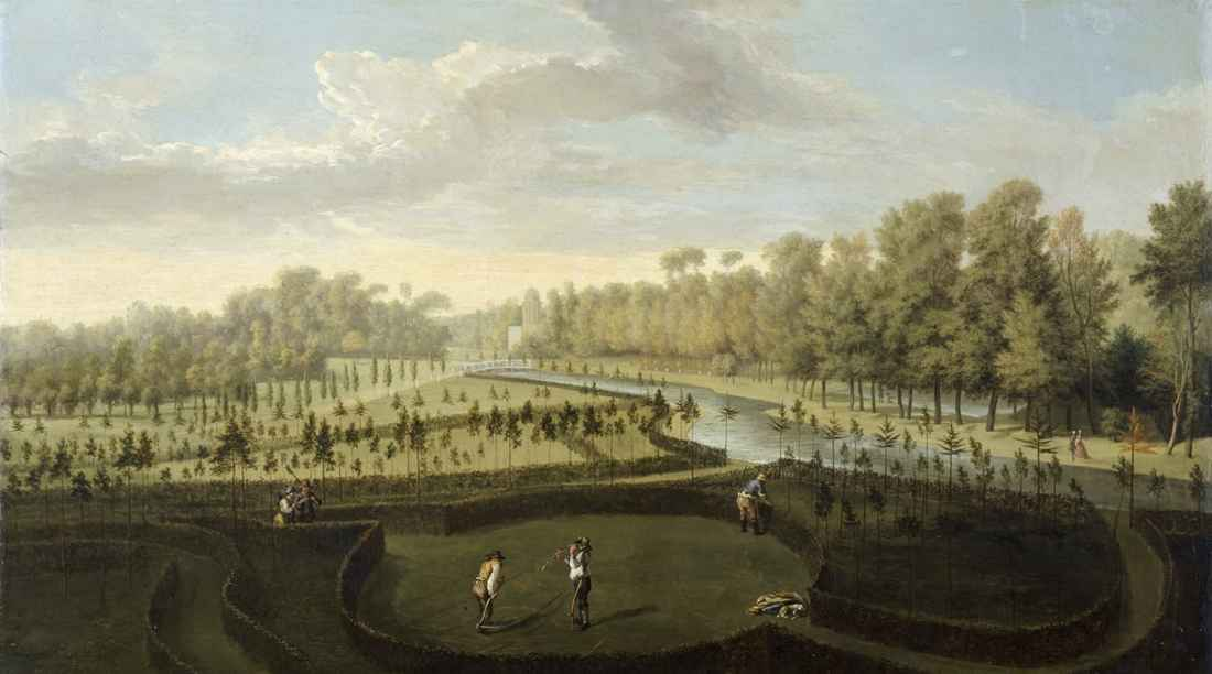 """""""A View Across the New Gardens Towards the Fretwork Bridge and the Bagnio."""" ca. 1729-1731."""