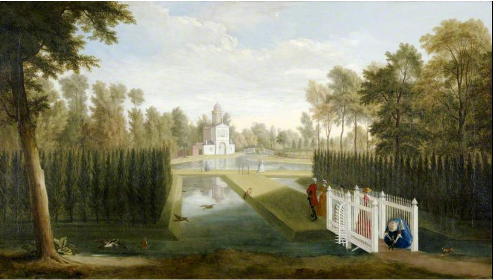 """""""A View of Chiswick House Gardens (towards the rear of the Bagnio from south of the upper river)."""" ca. 1729-1731"""