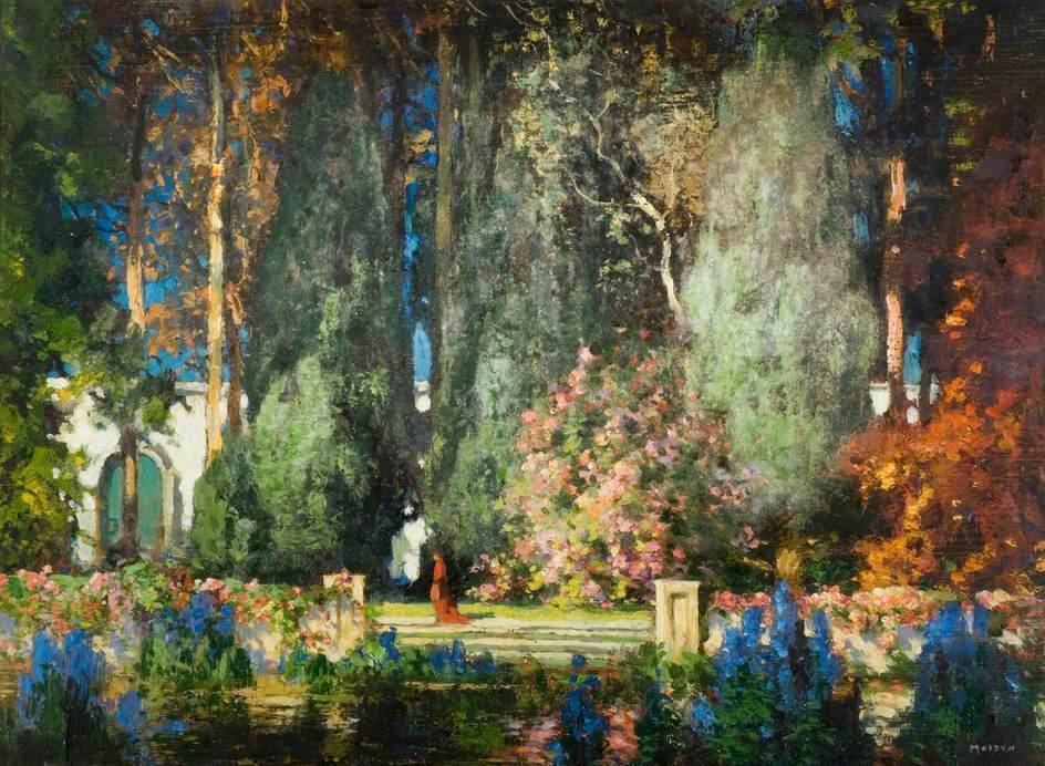 """The Cardinal's Garden."" ca. early 20th c."
