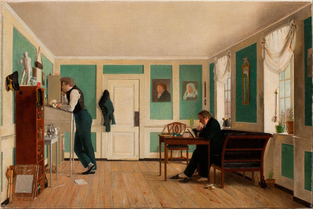 Interior from Amaliegade. Captain Carl Ludvig Bendz standing and Dr. Jacob Christian Bendz seated. 1829.