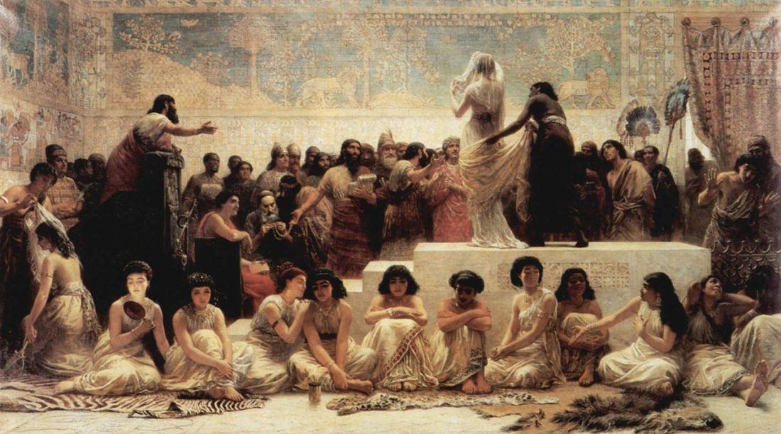 """""""Der Heiratsmarkt von Babylon."""" (Babylonian marriage market)1875."""