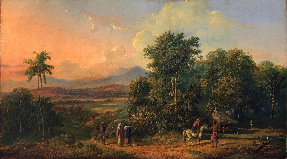 """Forest and Native House."" 1860. Oil on canvas."