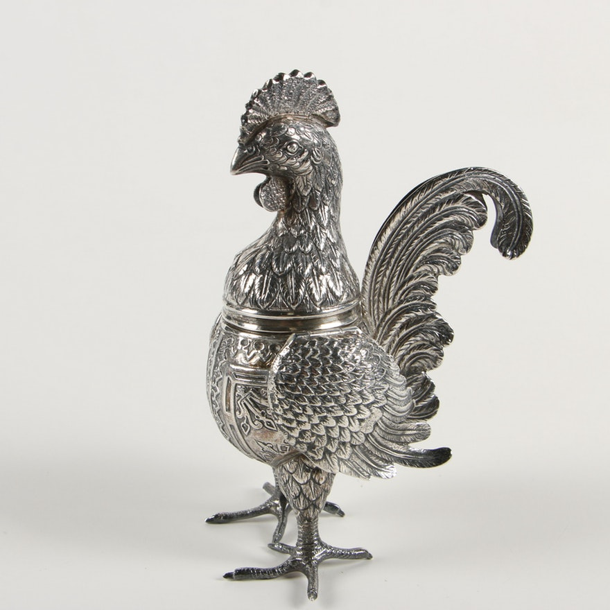Hinged rooster spice box. Antique.