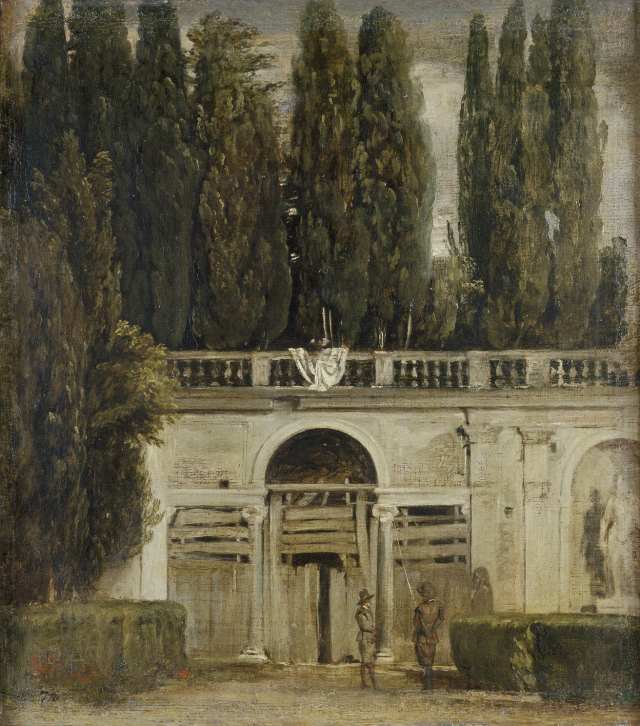 """""""View of the Gardens of the Villa Medici in Rome."""" 1629."""