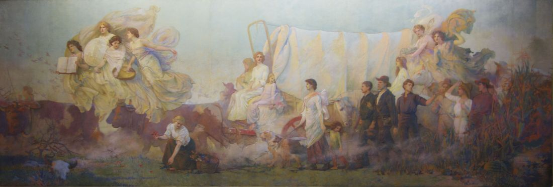 """""""Westward."""" Mural in the from the Iowa State Capitol."""