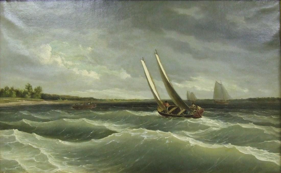 """""""Boats Navigating the Waves."""" ca. 1828."""