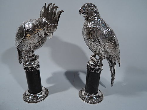 Parrot spice boxes with hinged wings, scaly talons and a detachable head. ca. 1890.