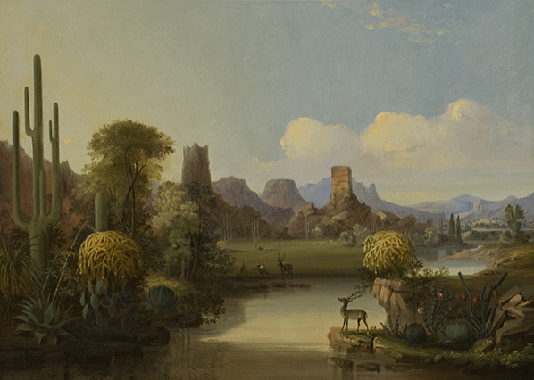"""""""Chain of Spires Along the Gila River."""" 1855."""