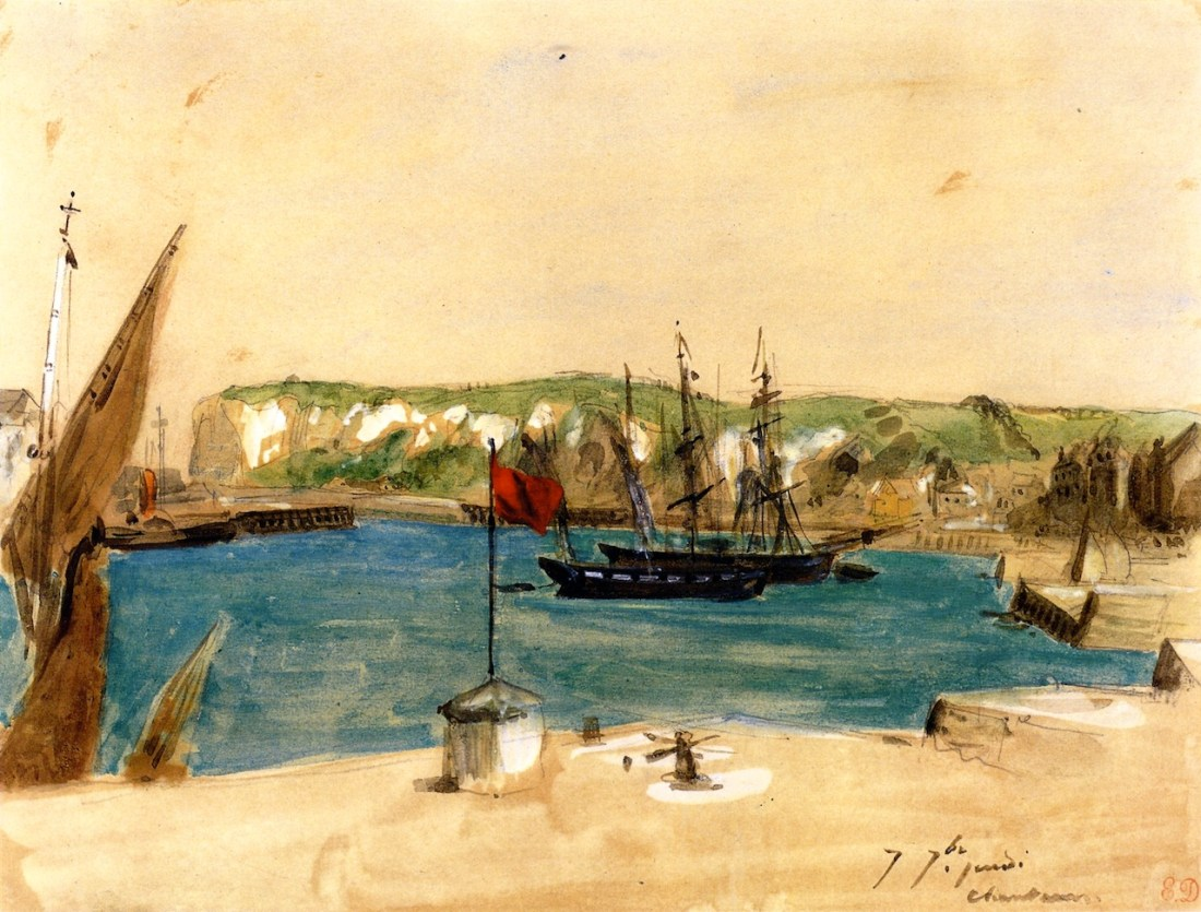 """""""View of the Port of Dieppe.:"""" 1854. Watercolor and gouache over graphite on paper."""