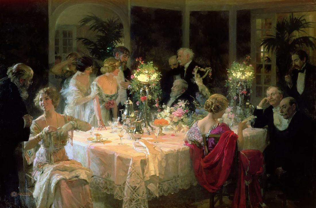 """""""The End of Dinner."""" 1911."""