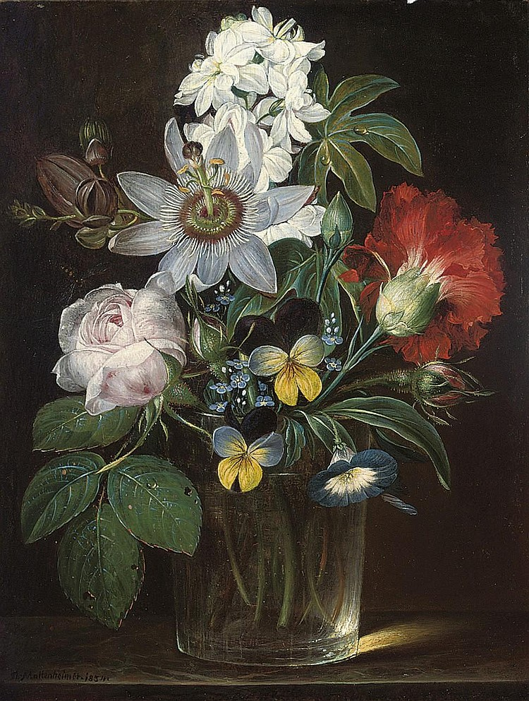 """""""Roses, a Carnation, Forget-Me-Nots, Violets, Morning Glory, a Passion Flower and a Delphinium in a Glass Vase."""" 1854."""