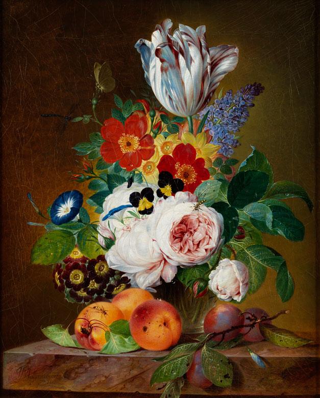 """""""Blumenstilleben mit pfirsichen und pflaumen."""" 1831."""