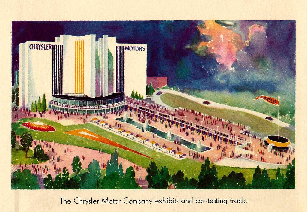 The Chrysler Motor Company exhibits and car-testing track. 1933.