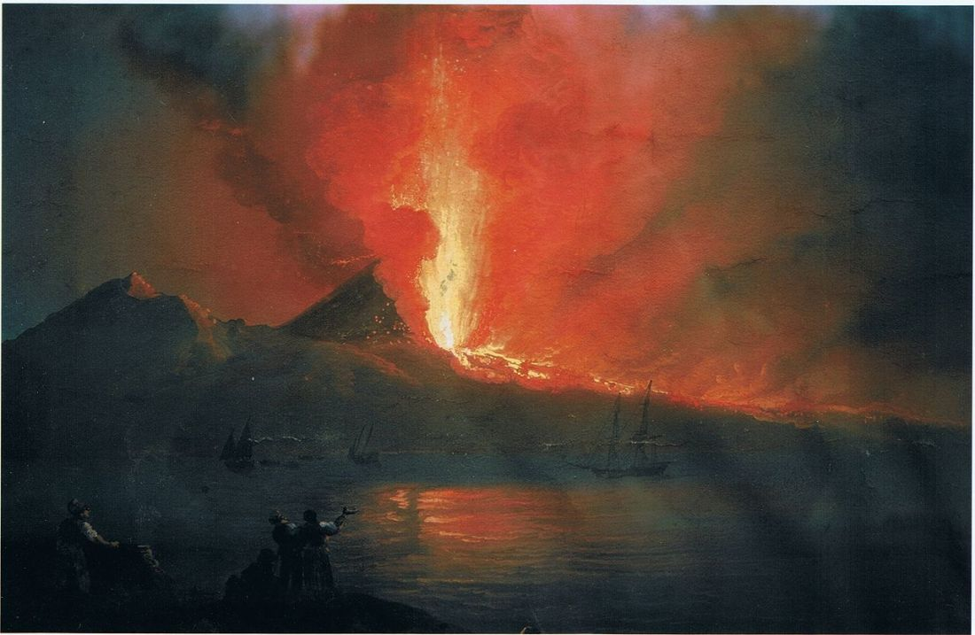 Mount Vesuvius erupting in 1812 as seen from the Ponte dell Maddalena. (detail).