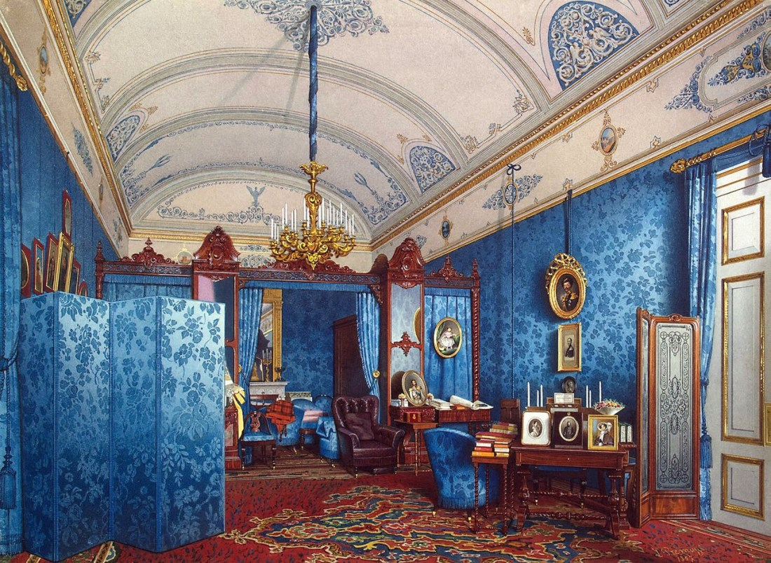 """The Dressing Room of Empress Maria Alexandrovna in the Winter Palace."" 1857."