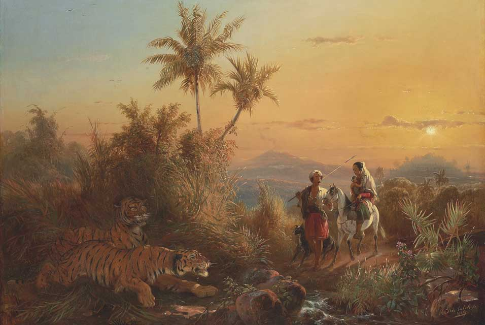 """Javanese Landscape, with Tigers Listening to the Sound of a Travelling Group."" 1849."