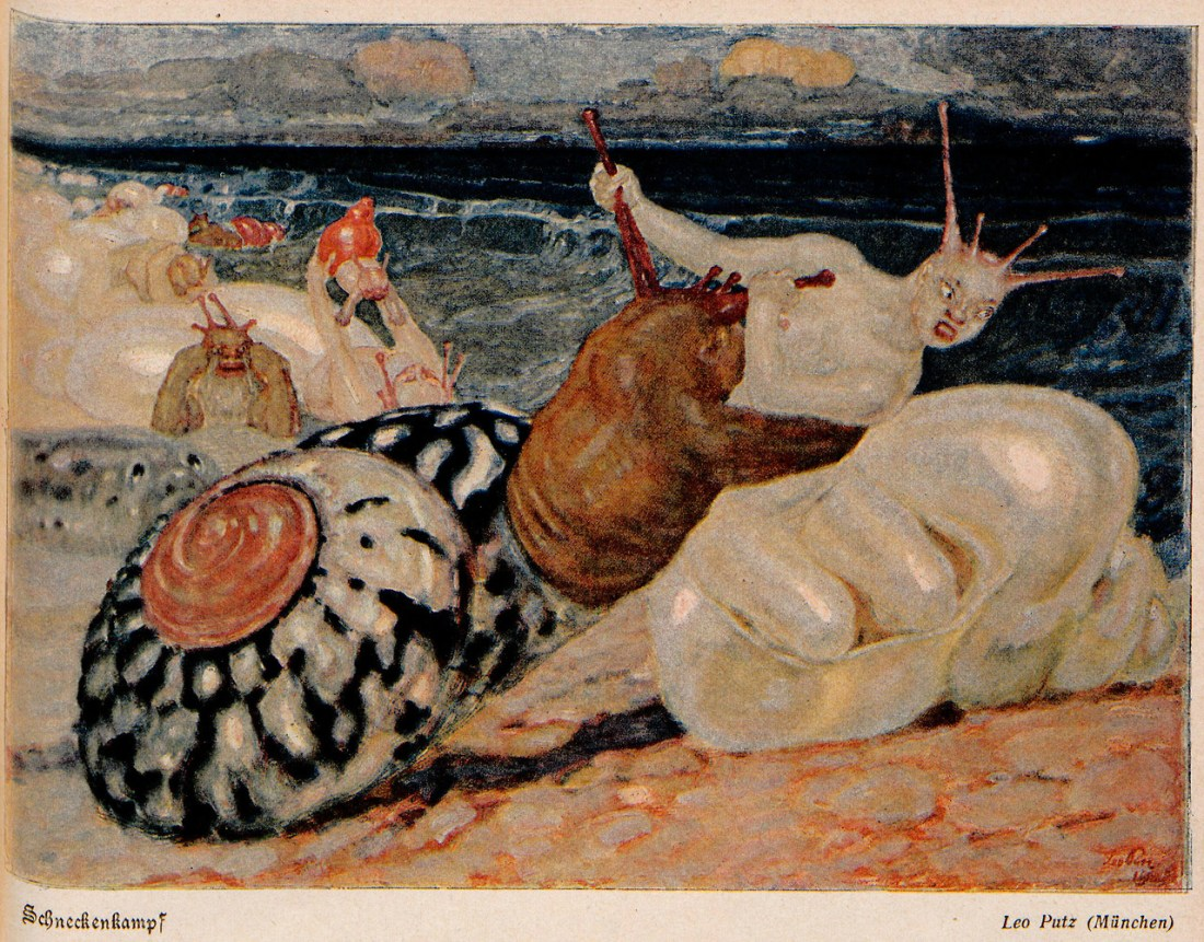 """Schneckenkampf"" (Snails Battle). Done for Jugend in 1904."