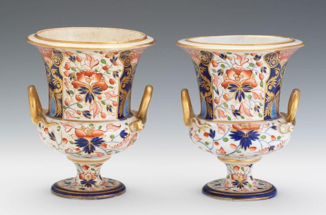 Pair of campana-shaped urns. ca. 1820.