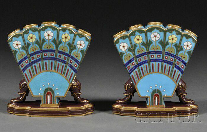Pair of quintal vases. 1850-1900.