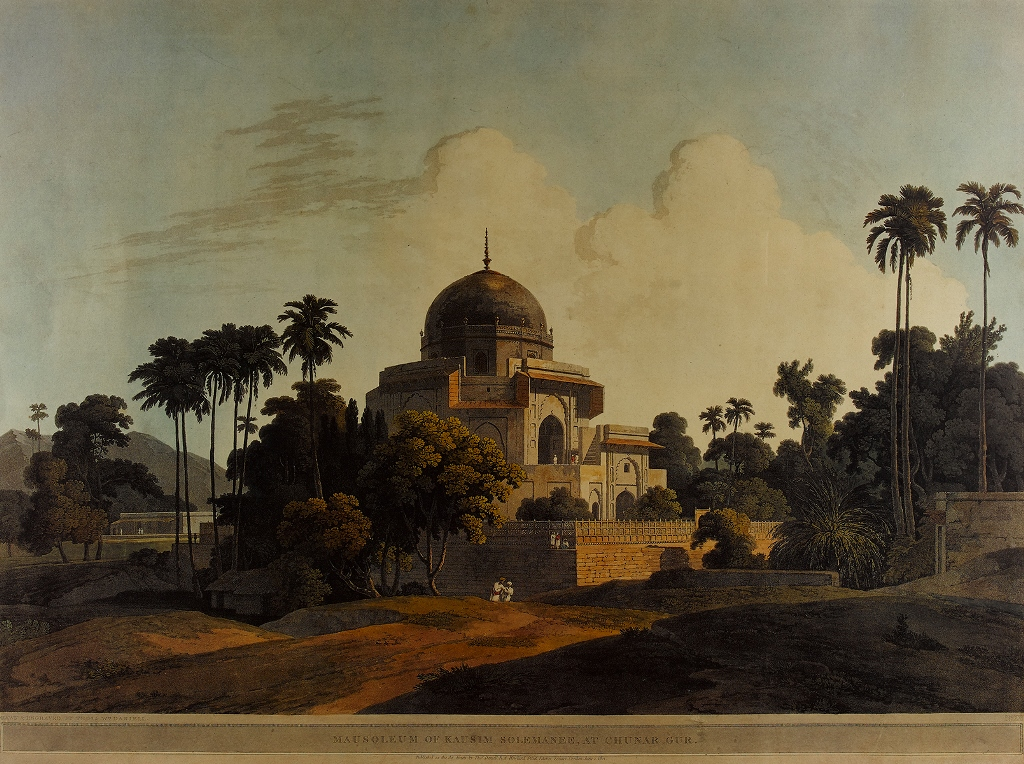 """Mausoleum of Kausim Solemanee, at Chunar Gur, 1803."" Plate 23"