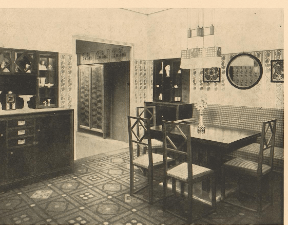 """""""Living room and dining room in Nusshauz,"""" Fritz Zeymer, architect, Wien.  1909. Page t."""