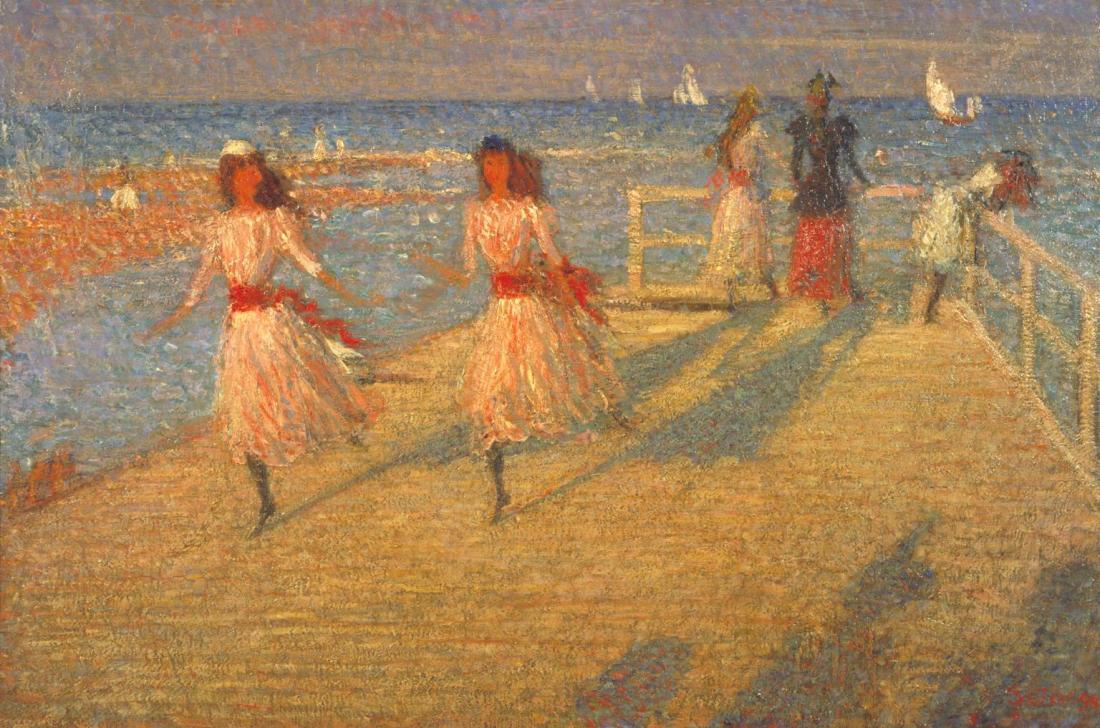 """""""Girls Running, Walberswick Pier."""" 1888-1894."""