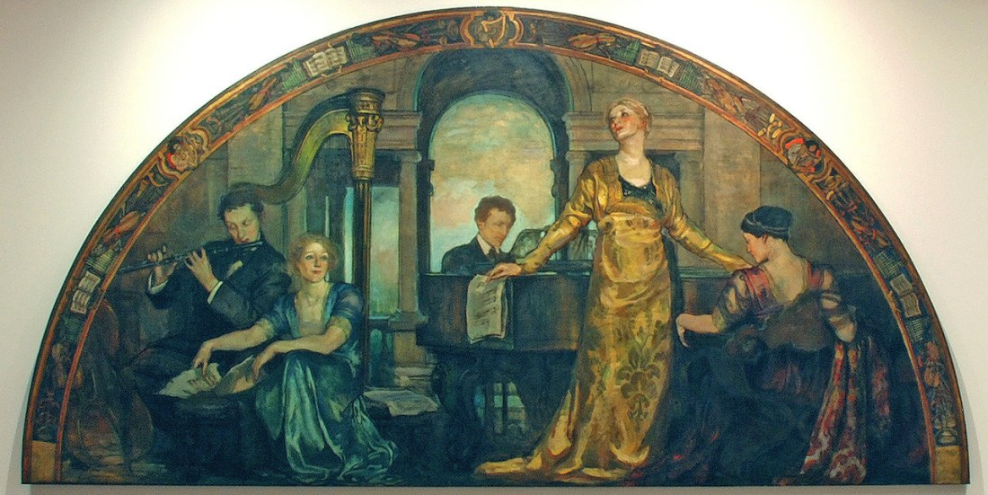 """""""Youth and the Arts."""" Lunette, part of the """"Building the House of Wisdom"""" set of murals commissioned by Charlton Yarnall for his mansion in Philadelphia, Pennsylvania. 1911."""