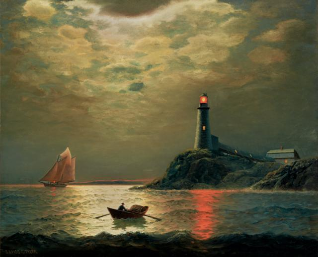 """""""Sailboat with Lighthouse at Night."""" Late 19th c."""