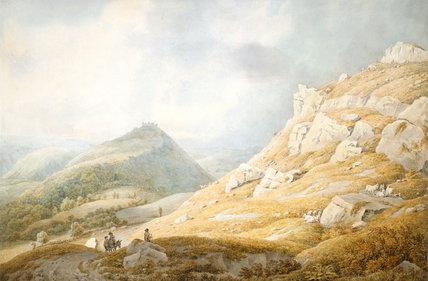 """Llangollen with Dinas Bran Castle,, Dyfed."" 18th c."