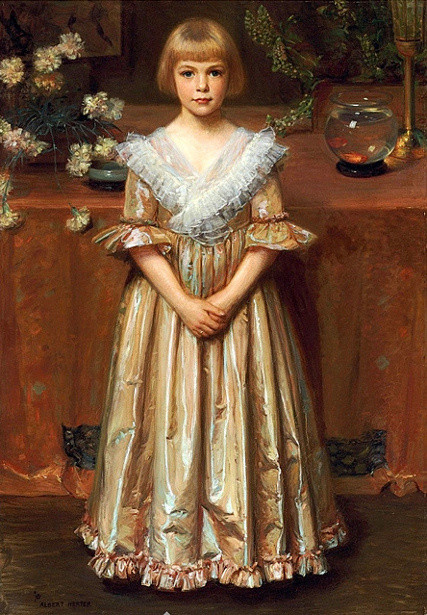 """""""Young Girl with a Goldfish Bowl."""" No date."""