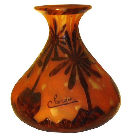 "Cameo glass vase in the ""Cocotiers"" design which was only made in 1927 and 1928."