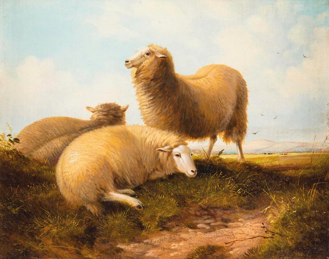 """Sheep resting in pasture landscape."" 1876."