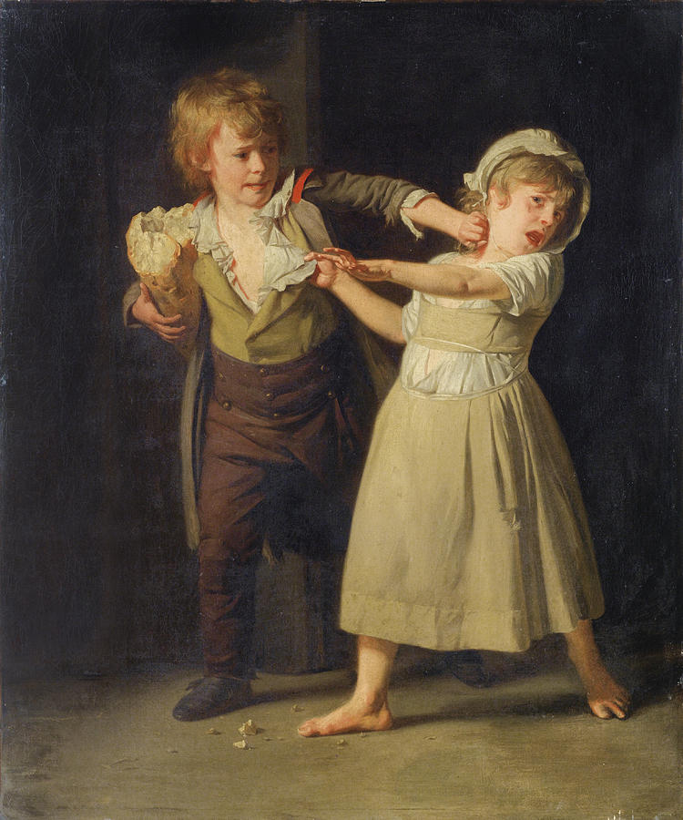"""""""Two Children Fighting over a Piece of Bread."""" No date."""