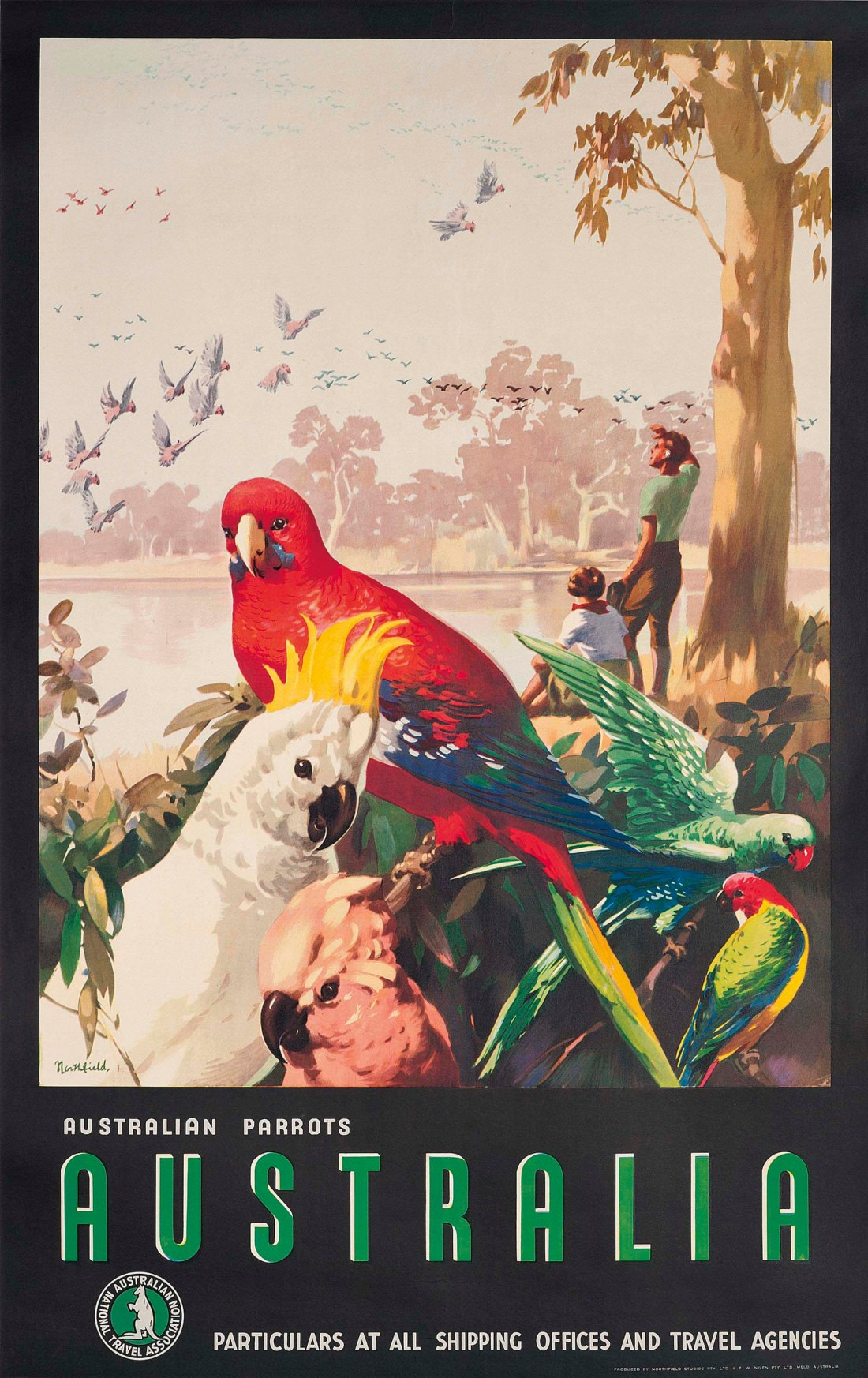 """""""Parrots."""" ca. 1935. Offset lithograph in colors."""