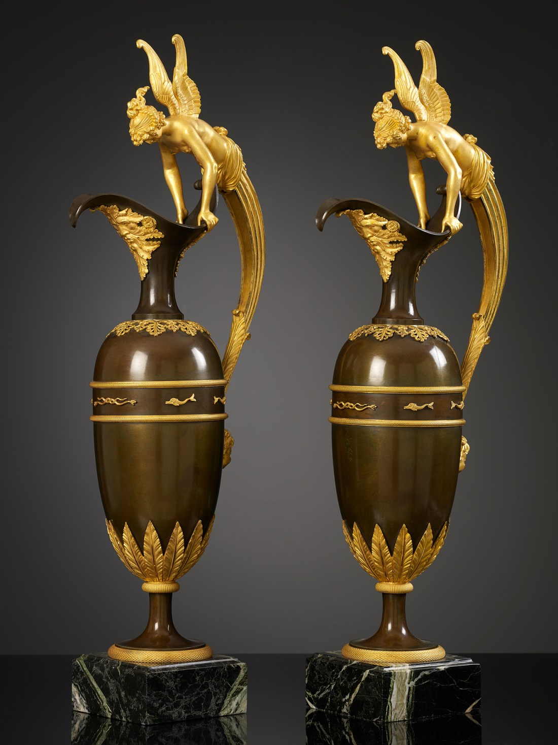 Pair of large ewers. No exact date. Empire in style.