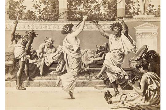 """Silver gelatin print of a wall painting from the  six-part cycle """"The Roman Life"""" that was  made for the Café Bauer in Berlin. Photograph after an original painting that was a   collaboration between von Verner and Christian Wilberg. ca. 1880."""