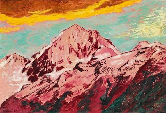 """""""Mountain Peaks, Switzerland."""" 1926. Oil on canvas."""