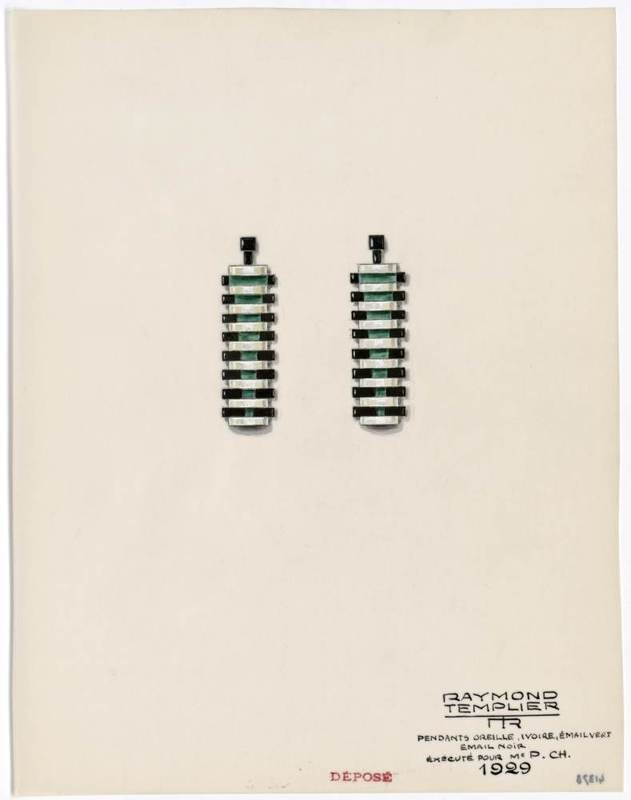 Design for ear pendants. 1929.