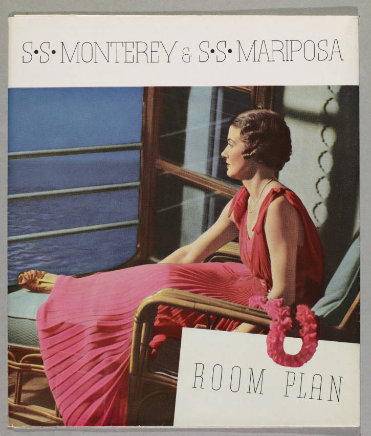 Front cover, 1937 room plan brochure for the S. S. Monterey and S. S. Mariposa.