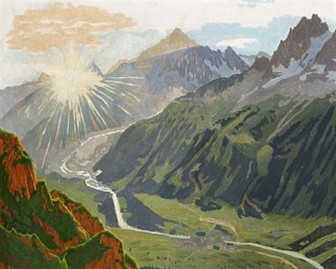 """""""Sunrise, the Chamonix Valley."""" No exact date. Oil on canvas."""