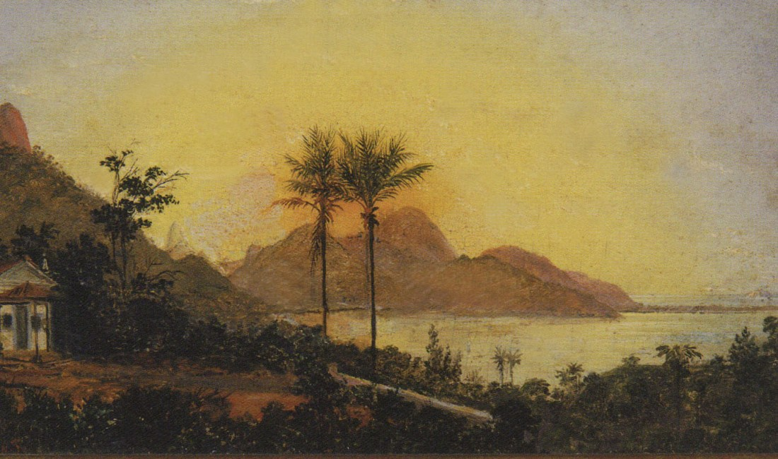 Painting with the chapel and the Rodrigo de Freitas Lagoon in the background. 1879.