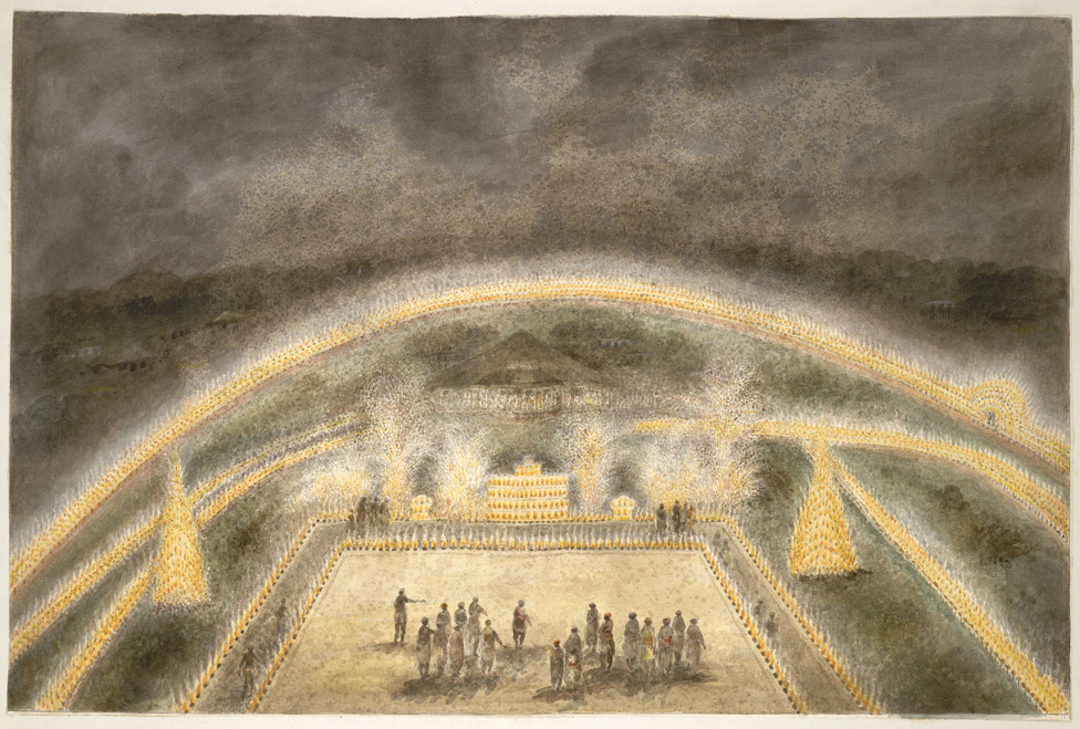 """""""Illuminations and fireworks round Mr. Donnithorne's park, Fatehgarh,"""" from """"Views by Seeta Ram from Agra to Barrackpore."""" 1815."""