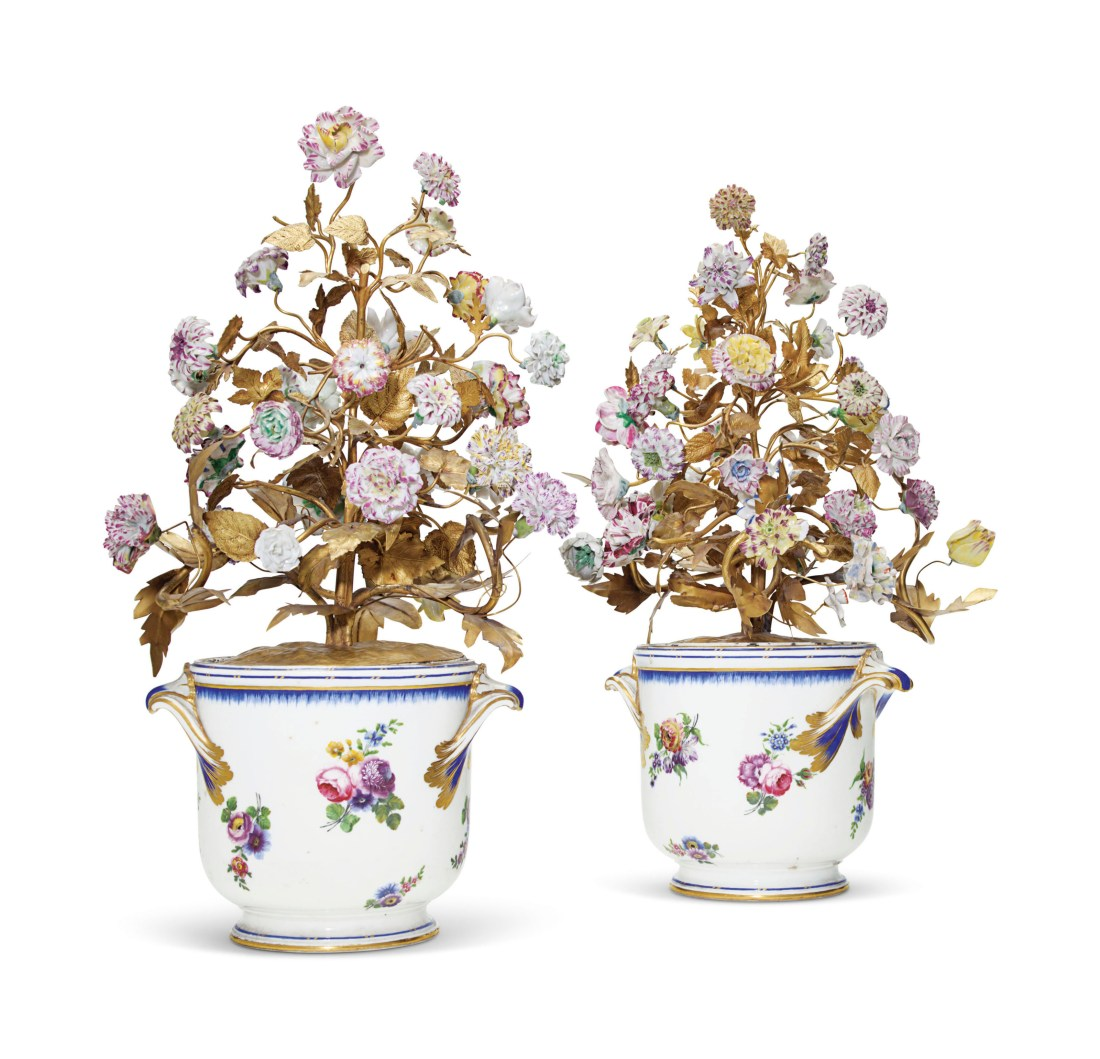 Bottle coolers with gilt-tole flowers.
