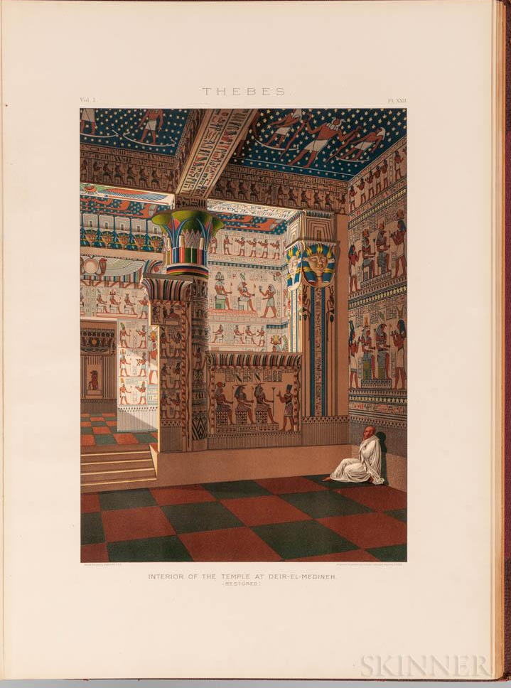 """Interior of the Temple at Deir-Al-Medineh (restored), Thebes."" 1887."