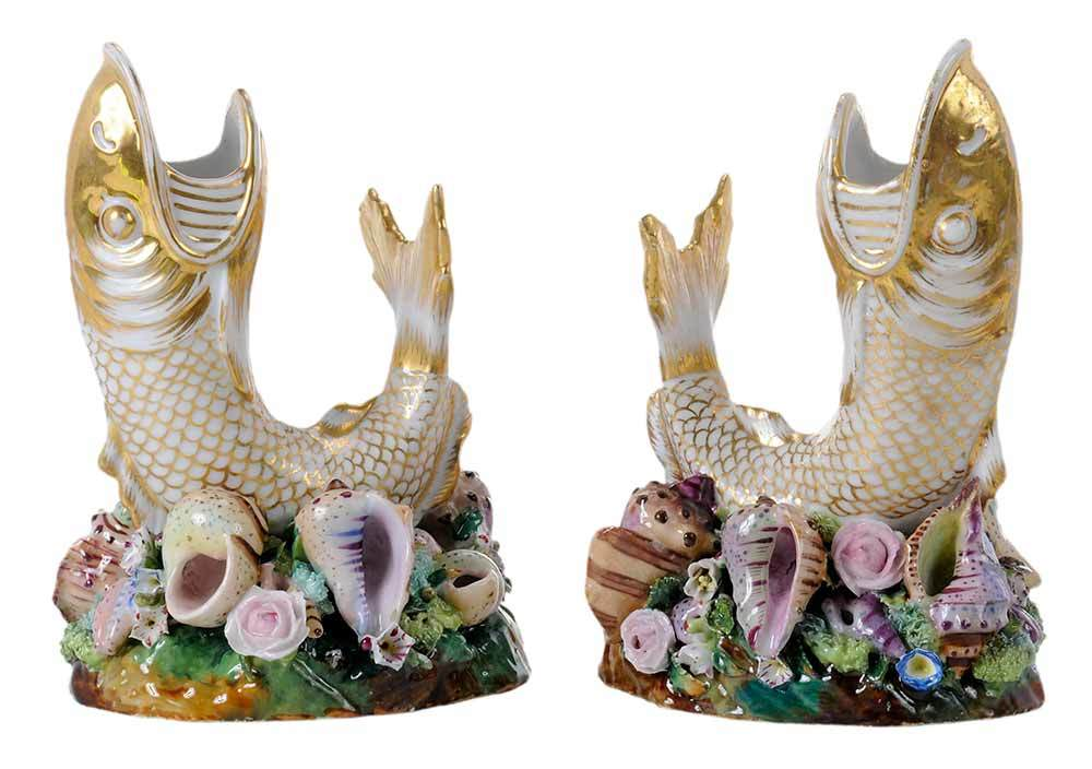 Pair of figural spill vases in the form of open mouthed gilt fish.