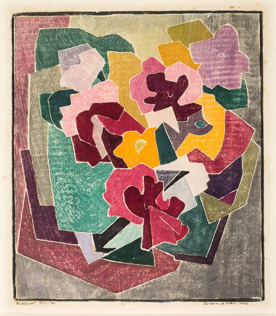"""""""Abstract Petunias.'' 1946, Color woodcut on laid Japan paper."""