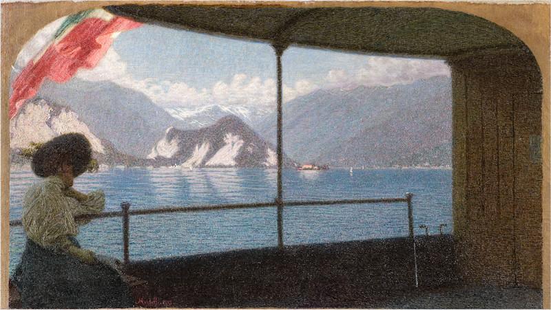 """""""Battello sul Lago Maggiore."""" 1915. Oil on canvas."""