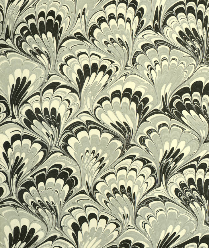 """Marbled paper in a """"Peacock"""" pattern. 1900-1999."""
