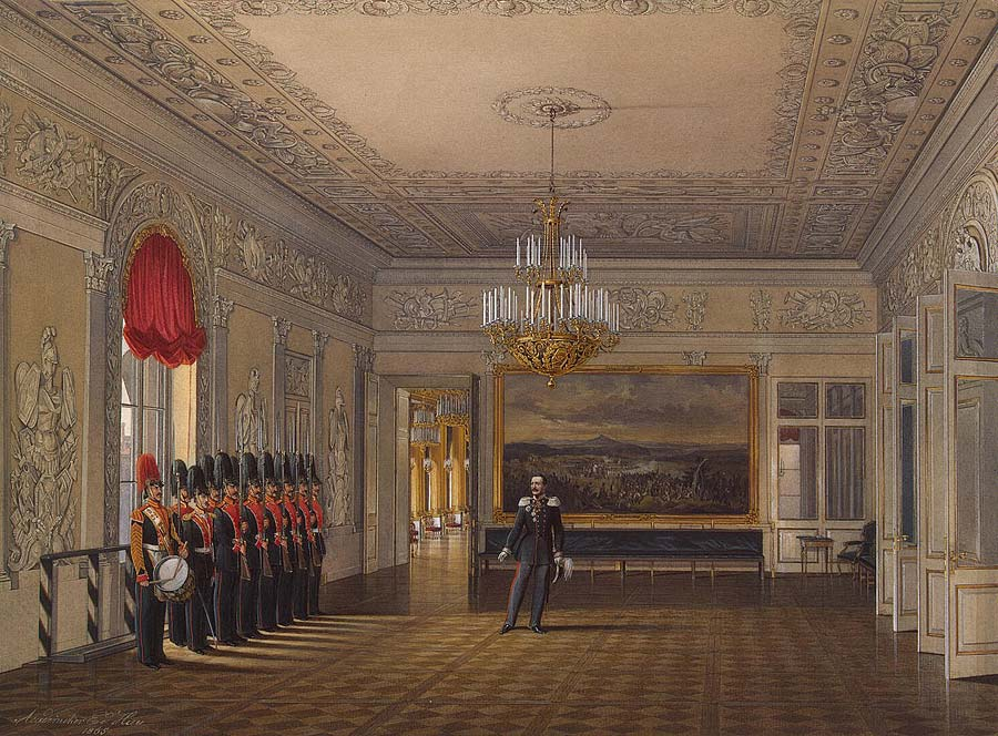 """The Picket Room"" from the series ""Interiors of the Winter Palace."" 1865."